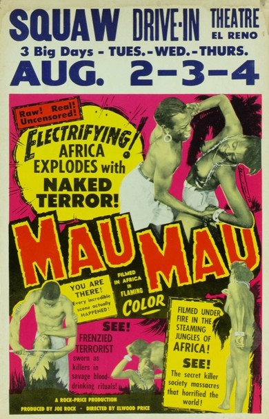 MAU-MAU (1955) 6996 Original Rock-Price Productions Window Card (14x22).  Near Mint Condition.