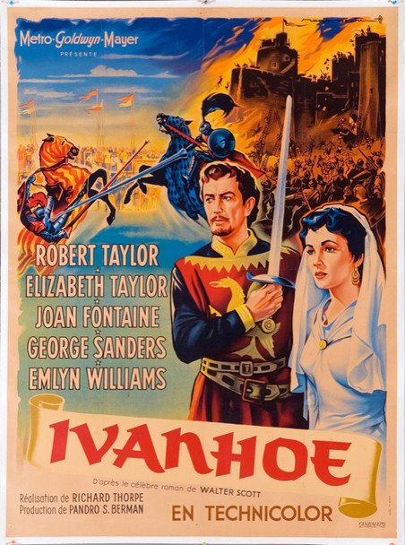 IVANHOE (1952) 7281 Original French One Panel Poster (47x63). Art by Roger Soubie. Very Fine Condition.
