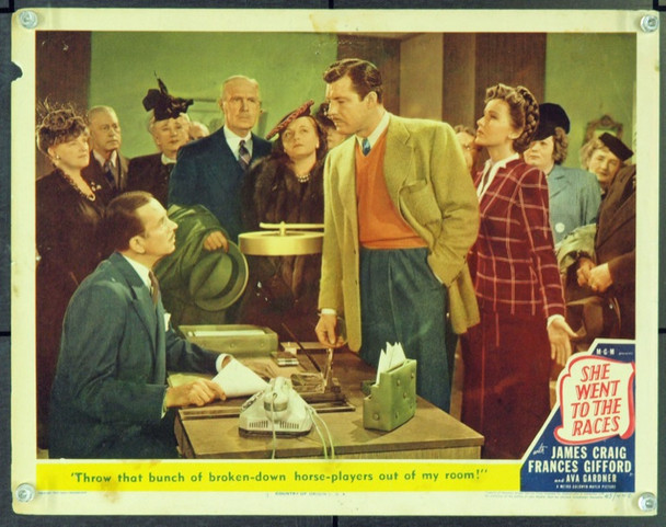 SHE WENT TO THE RACES (1945) 9278 Original MGM Scene Lobby Card (11x14). Very Good.