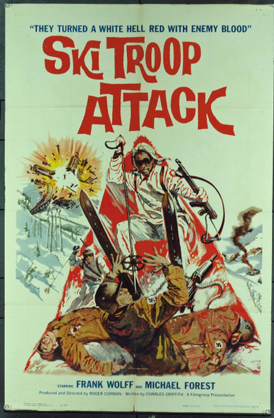 SKI TROOP ATTACK (1960) 11291 Original Filmgroup One Sheet Poster (27x41). Folded. Very fine condition.