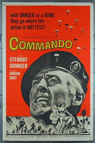 COMMANDO (1962) 11293 Original American International Pictures One Sheet Poster (27x40.75). Folded. Fine condition.