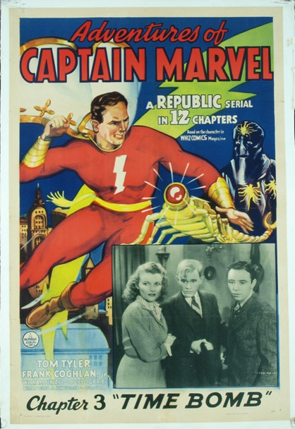 ADVENTURES OF CAPTAIN MARVEL, THE (1941) 15140 Original Republic Pictures One Sheet Poster (27x41). Chapter 3: Time Bomb. Linen-Backed. Fine Plus Condition.