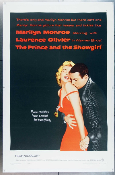 PRINCE AND THE SHOWGIRL, THE (1957) 14161 THE PRINCE AND THE SHOWGIRL Original Warner Brothers One Sheet Poster (27x41). Linen-Backed. Near Mint Condition.