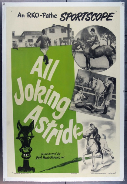 ALL JOKING ASTRIDE (1953) 15480 Original RKO One Sheet Poster (27x41). Linen-Backed.  Very Fine Condition.