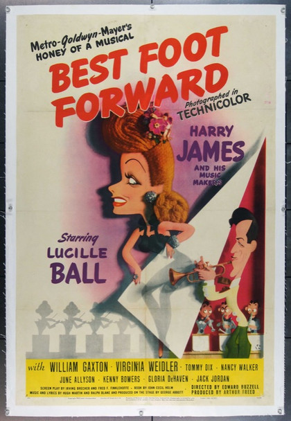 BEST FOOT FORWARD (1943) 18492 Original MGM Style C One Sheet Poster (27x41). Jacques Kapralik Art. Linen-Backed. Fine Condition.