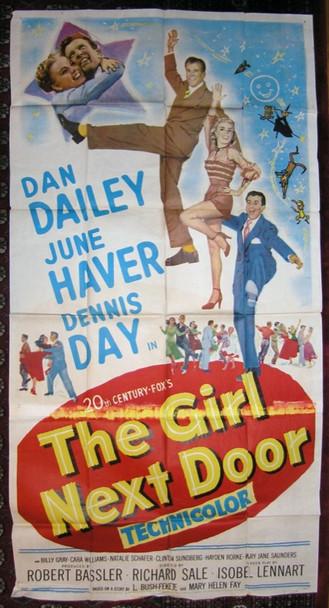 GIRL NEXT DOOR, THE (1953) 15797 Original 20th Century-Fox Three Sheet Poster (41x81). Folded. Fair Condition.