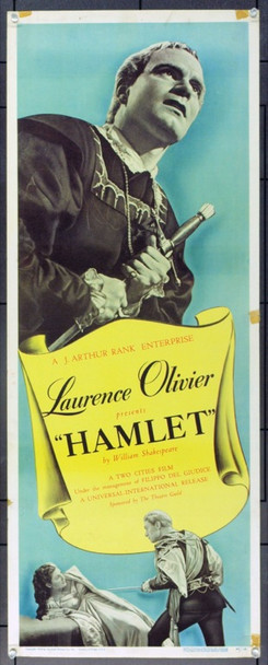 HAMLET (1948) 16849 Original Universal Pictures Insert Poster (14x36). Unfolded. Fine Plus.