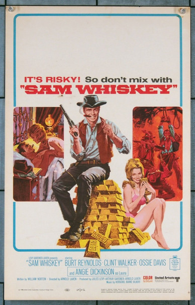 "SAM WHISKEY (1969) 19210 <span style=""white-space: pre;""> Original United Artists Window Card (14x22). Very fine condition. </span>"