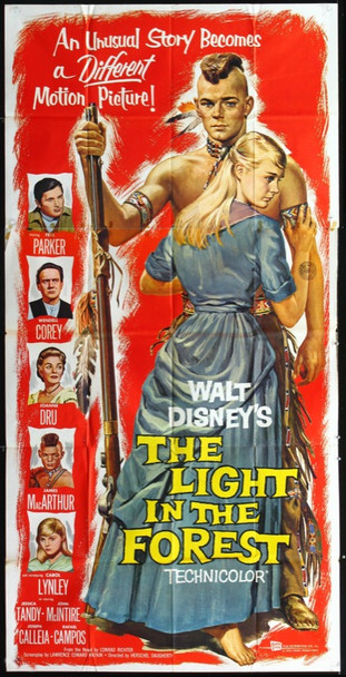 LIGHT IN THE FOREST, THE (1958) 19662 Original Walt Disney Productions Three Sheet Poster (41x81). Folded.  Very Fine Condition.