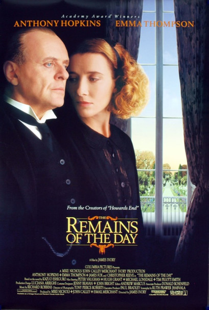 REMAINS OF THE DAY (1993) 19785 Original Columbia Pictures One Sheet Poster (27x41). Rolled. Very Fine Plus Condition.