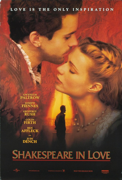 SHAKESPEARE IN LOVE (1999) 19788 Original Universal Pictures One Sheet Poster (27x41). Rolled. Double-sided. Very Fine Plus Condition.