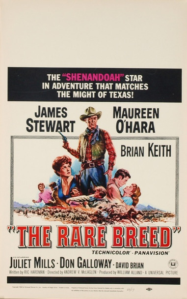 RARE BREED, THE (1966) 19874 Original Universal Pictures Window Card (14x22). Very fine condition.