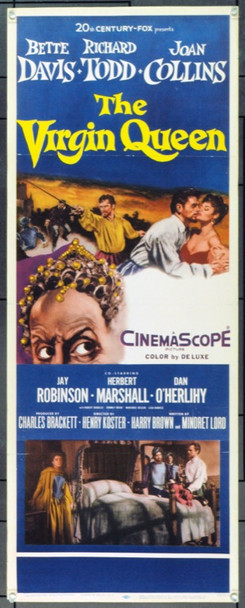VIRGIN QUEEN, THE (1955) 19945 Original 20th Century-Fox Insert Poster (14x36). Folded. Fine.