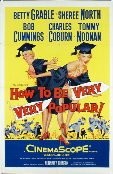 HOW TO BE VERY, VERY POPULAR! (1955) 6162 Original 20th Century-Fox One Sheet Poster (27x41).  Folded.  Very Fine Condition.