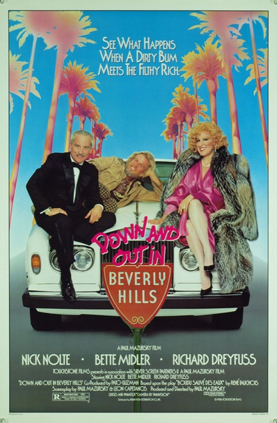 DOWN AND OUT IN BEVERLY HILLS (1986) 20404 Original Touchstone Pictures One Sheet Poster (27x41). Rolled. Near Mint Condition.