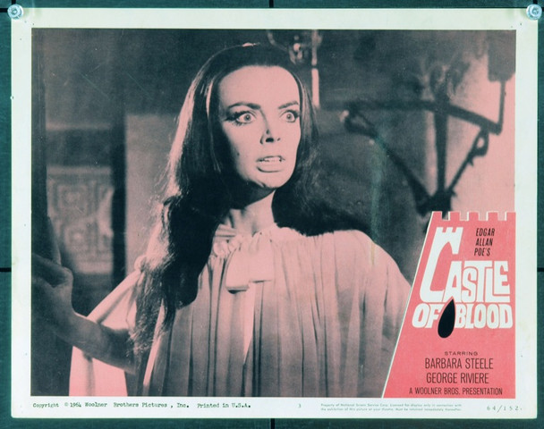 CASTLE OF BLOOD (1964) 20493 Original Woolner Brothers Pictures Portrait Lobby Card (11x14).  Portrait of Barbara Steele.  Fine plus to very fine condition.