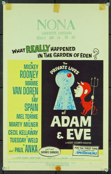 PRIVATE LIVES OF ADAM AND EVE, THE (1961) 20613 Original Universal Pictures Window Card (14x22).  Fine condition.