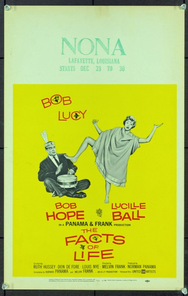 FACTS OF LIFE, THE (1960) 20615 Original United Artists Window Card (14x22).  Stamped with Theater and Playdates.  Near Mint Condition.