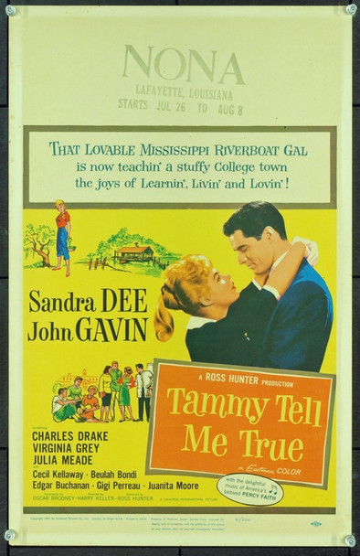 TAMMY TELL ME TRUE (1961) 20619 Original Universal Pictures Window Card (14x22).  Near Mint Condition.
