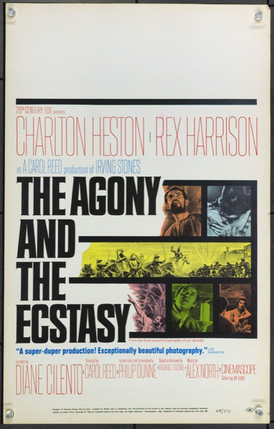 AGONY AND THE ECSTASY, THE (1965) 21829 Original 20th Century-Fox Window Card (14x22). Very Fine.