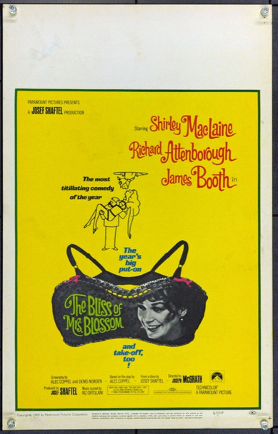 BLISS OF MRS. BLOSSOM, THE (1968) 21836 Original Paramount Pictures Window Card (14x22). Very Fine.