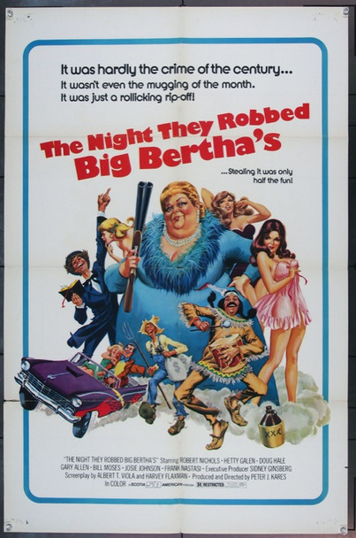 NIGHT THEY ROBBED BIG BERTHA'S, THE (1975) 2975 Original Scotia American One Sheet Poster (27x41). Good condition.  Art by Cardi.