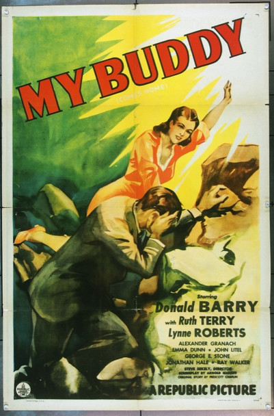 MY BUDDY (1944) 2979 Original Republic Pictures One Sheet Poster (27x41).  Folded.  Good condition.