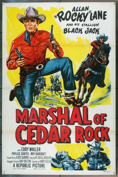 MARSHAL OF CEDAR ROCK (1953) 2981 Original Republic One Sheet Poster.  (27x41)  Folded.  Very Fine Plus Condition.