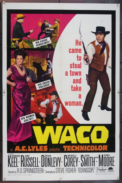 WACO (1966) 4694 Original Paramount Pictures One Sheet Poster (27x41). Folded. Very Fine.