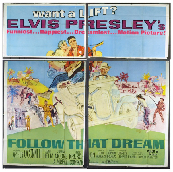 FOLLOW THAT DREAM (1962) 9968 Original United Artists Six Sheet Poster (81x81). Folded. Fine Plus.