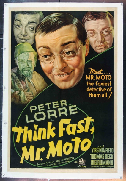 THINK FAST, MR. MOTO (1937) 19495 Original 20th Century-Fox One Sheet Poster (27x41). Linen-Backed.  Fine Plus Condition.