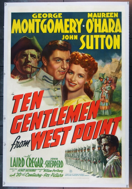 TEN GENTLEMEN FROM WEST POINT (1942) 18731 Original 20th Century-Fox One Sheet Poster (27x41). Stone Lithograph. Linen-Backed. Fine Plus Condition.