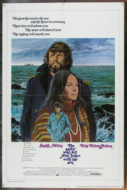 SAILOR WHO FELL FROM GRACE WITH THE SEA (1976) 1961 Avco Embassy Original One Sheet Poster  (27x41) Folded.  Good Condition.