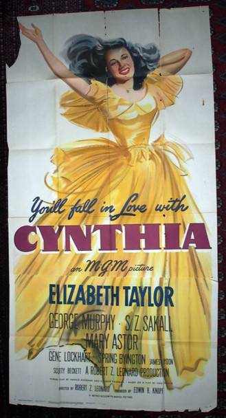 CYNTHIA (1947) 8058 Original MGM Three Sheet Poster (41x 81).  Unrestored.  Good Condition.