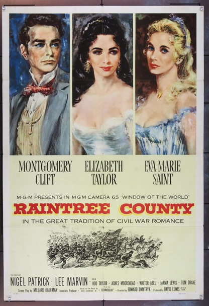 RAINTREE COUNTY (1957) 7046 Original U.S. One Sheet (27x41) Folded.  Very Fine.