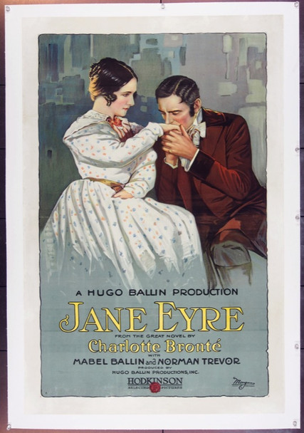 JANE EYRE (1921) 20220 Hodkinson Selected Pictures One Sheet (27x41) Linen.  Fine.