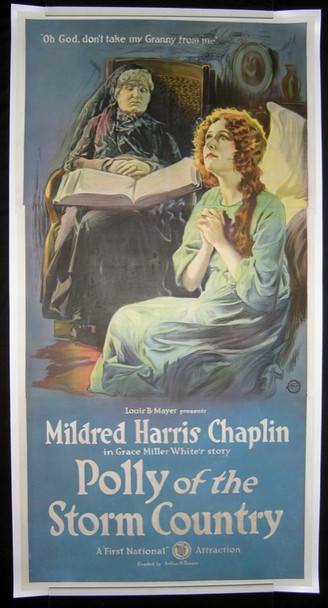 POLLY OF THE STORM COUNTRY (1920) 18223 Original Three Sheet Poster (41 x 81) Linen backed.  Restored to very fine.