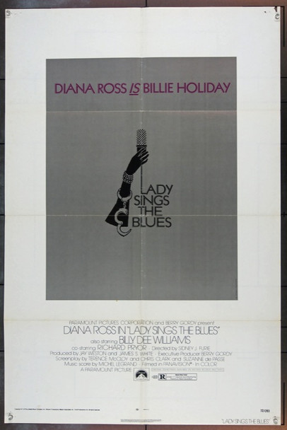 LADY SINGS THE BLUES (1972) 1965 Original Paramount One Sheet Poster (27x41) Folded.  Very Good Condition.