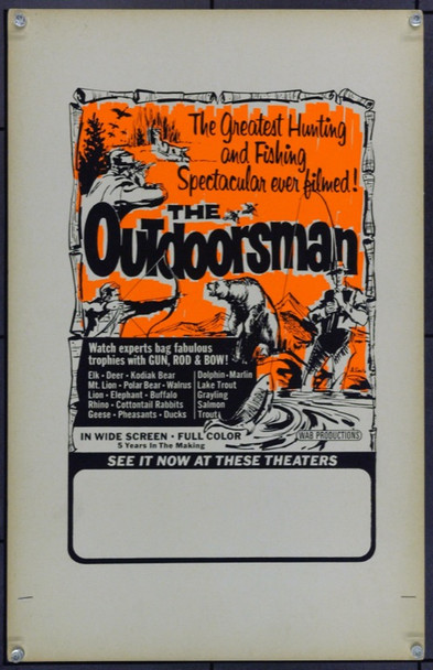 OUTDOORSMAN, THE (0) 21910 Window Card (14x22) Silkscreen.  Very Fine.
