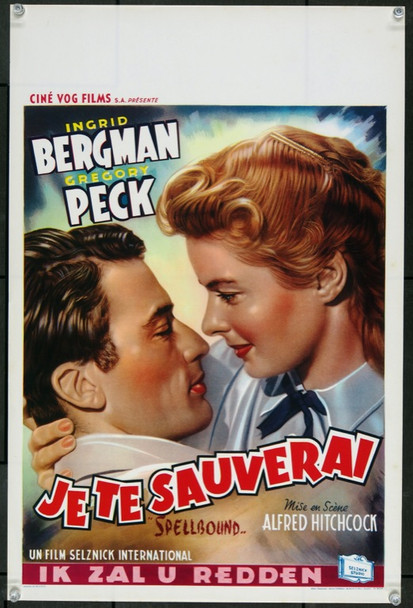 SPELLBOUND (1945) 23252 Original Belgian 1950s Re-Release Poster (15x22). Unfolded.  Very Fine Plus.