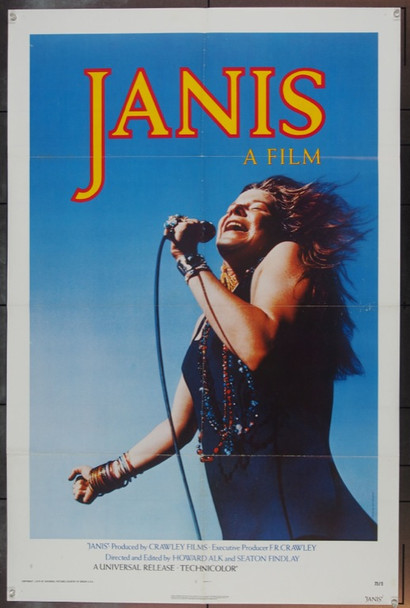 JANIS (1975) 1958 Original Universal Pictures One Sheet Poster (27x41). Folded.  Fine Plus Condition.