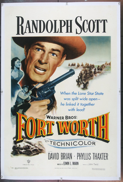 FORT WORTH (1951) 21497 Original Warner Brothers One Sheet Poster (27x41).  Linen-Backed.  Very Fine.