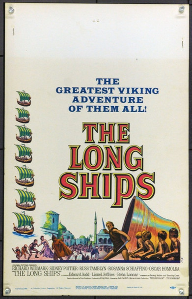LONG SHIPS, THE (1964) 21885 Original Columbia Pictures Window Card (14x22).  Unfolded.  Very Fine.