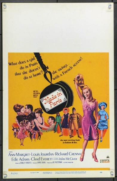MADE IN PARIS (1966) 21891 Original MGM Window Card (14x22).  Unfolded.  Very Fine.