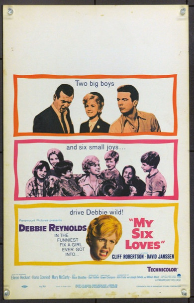 MY SIX LOVES (1962) 21902 Original Paramount Pictures Window Card (14x22).  Unfolded.  Very Fine.