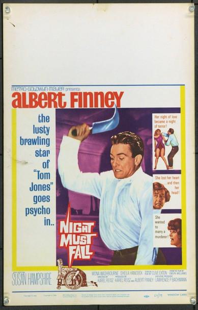 NIGHT MUST FALL (1964) 21904 Original MGM Window Card (14x22).  Unfolded.  Very Fine.