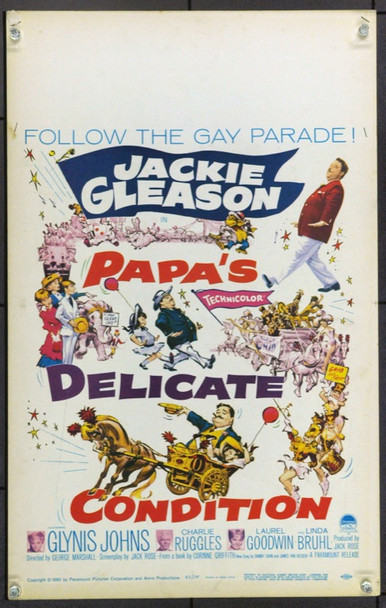 PAPA'S DELICATE CONDITION (1963) 21911 Original Paramount Pictures Window Card (14x22).  Unfolded.  Very Fine.