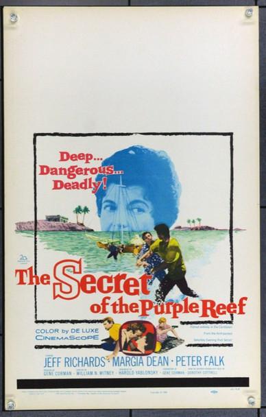 SECRET OF THE PURPLE REEF, THE (1960) 21928 Original 20th Century-Fox Window Card (14x22).  Unfolded.  Very Fine.