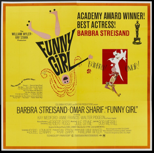 FUNNY GIRL (1968) 4909 Columbia Pictures Six Sheet.  81x81.  Folded.  Very Fine to Near Mint