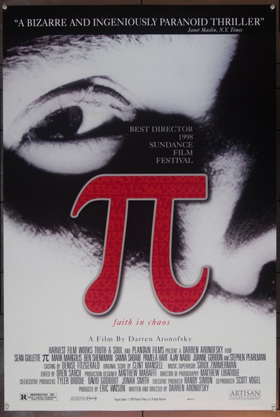 PI (1998) 19800 Original Artisan Entertainment One Sheet Poster (27x41). Rolled. Double-Sided. Near Mint.